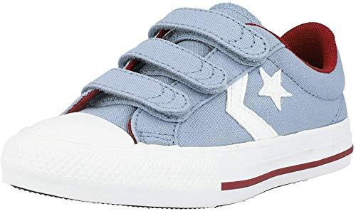 Converse Star Player 3V Gris/Rojo (Blue Slate/Team Red) Tela Adolescentes Entrenadores Zapatos