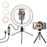 LEDリングライト 自撮りライト 卓上ライト 撮影用 撮影照明用ライト 外径10in USB給電 3色モード付き 高輝度 角度調整可能 スマホスタンド付き 自撮り/化粧/生放送/ビデオカメラ撮影用