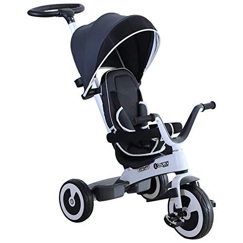 HOMCOM Triciclo Passeggino per Bambini con Maniglione Tetto Parapioggia Regolabile Cestino Striscia Catarifrangente Parafango Anteriore, Grigio scuro, 115x54x96 cm