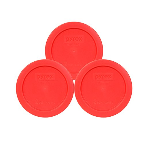 Pyrex 7200-PC 2 Cup Red Round Plastic Food Storage Lid - 3 Pack