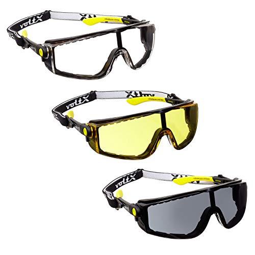 3 x voltX 'QUAD' 4 in 1 DOORZICHTIGE, GELE, ROOKKLEURIG Veiligheidsbril met Lens, met Inzet in Schuim, Afneembare Hoofdband, CE EN166f Gecertificeerd