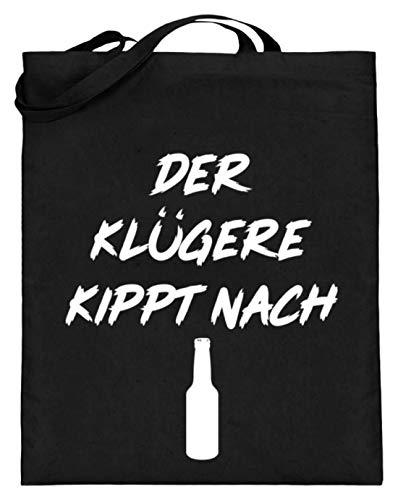 La bolsa de yute con asas largas Kippt Nach – Diseño de fiesta con frase para hombre y mujer – Diseño sencillo y gracioso, color Negro, talla 38cm-42cm