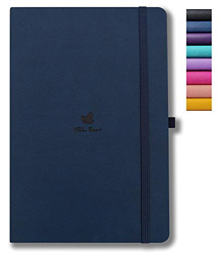 YRL Best A5 Bullet Hardcover Notebook Journal with Pen Loop, Dotted/Dot Grid, 5.7x8.3', 192 Numbered Pages of Premium Thick Paper, Fine PU Leather, Sewn Bound, Elastic Band, Lays Flat, Navy Blue