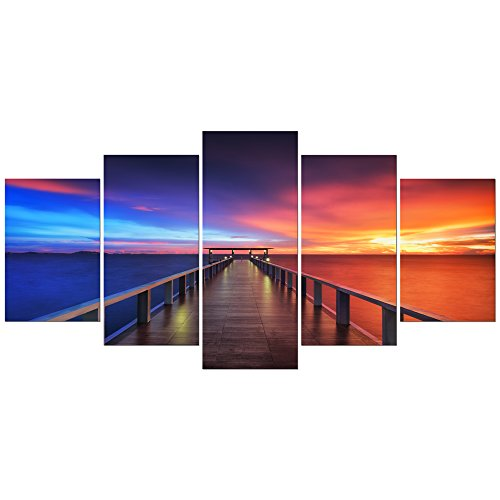 Pyradecor Sunset Bridge Extra Large 5 Piece Modern Seascape Artwork Giclee Canvas Prints Stretched and Framed Landscape Sea Beach Pictures Paintings on Canvas Wall Art for Home Decorations XL
