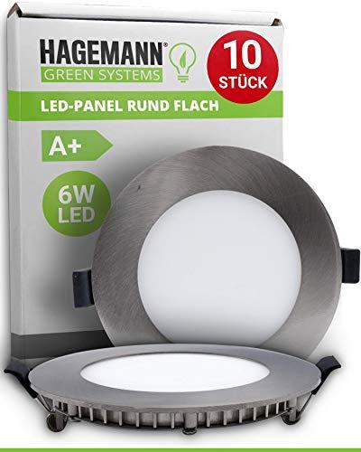 HAGEMANN® 10 x LED Panel rund 6 Watt 540lm – Ø 105mm Bohrloch – flach 230V LED Einbaupanel Einbauleuchte Deckenleuchte