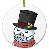 2020 Christmas Ornaments | Snowman with mask | Handmade Cute Ceramic Holiday Quarantine Gifts | Serenity Home Goods