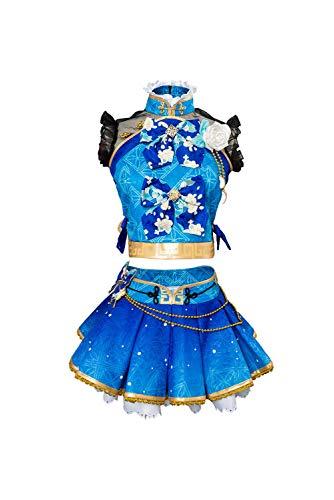 Mujer Idol Cosplay Disfraz de Watanabe You Carnaval Halloween Disfraz de Cheongsam Encaje de Manga Corta Conjunto Completo, S