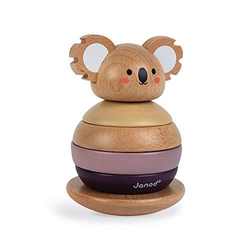 Janod - Tentetieso Apilable de Madera Koala - Juguete de Estímulo para Bebés - Desarrolla la Motricidad y la Manipulación - Colaboración con WWF - Certificado FSC - A partir de 1Año, J08601