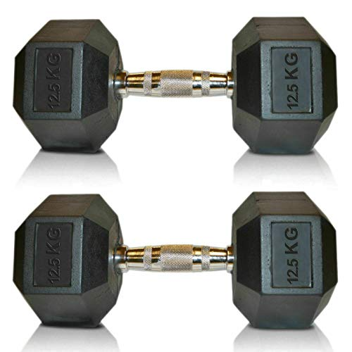 Viper Hex Dumbbells Cast Iron Weights Hexagonal Dumbbell Rubber Encased Gym Fitness (2X12.5KG) Sold in Pairs