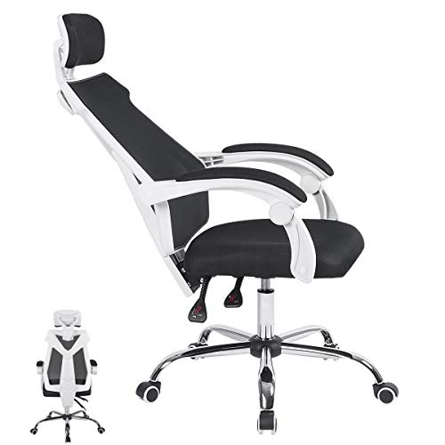 ORAF Office Chair Ergonomic Desk Chair Mesh Computer Chair Lumbar Support Adjustable Stool Rolling Swivel Chair, White