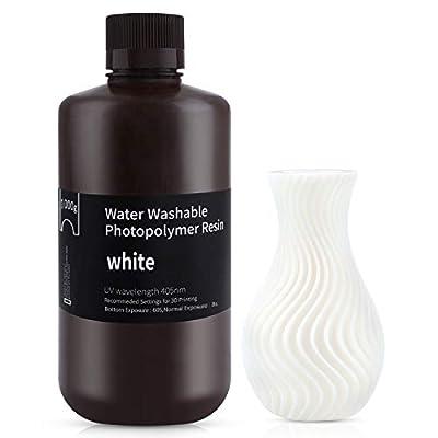 ELEGOO Water Washable 3D Printer Resin, Rapid LCD Resin 405nm UV-Curing Standard Photopolymer Resin for LCD 3D Printing White 1000G