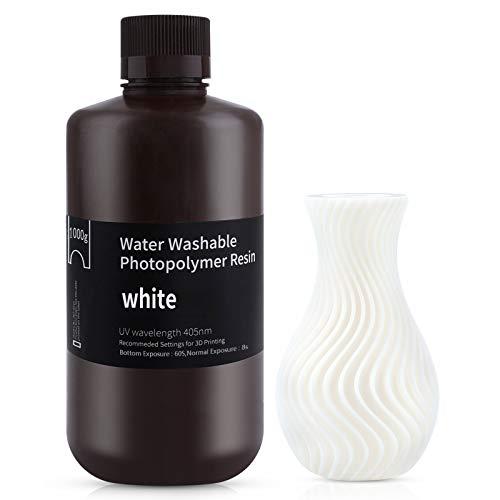 ELEGOO 405nm Wasser Waschbares Resin, 3D Drucker Rapid Resin für LCD/DLP UV Härtung Photopolymer 3D Drucker, 1000g Weiß