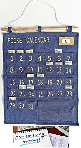 Calendar Pocket Chart – Money-Saving Classroom Calendar Set – Interactive Calendar for Kids and Adults – Manage your Finances and Allowance – 21 x 17-inch Denim Pocket Calendar