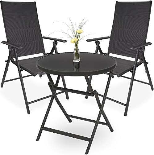 Brubaker Garten Sitzgruppe Riva - 1 Glastisch Klapptisch rund 70 cm Ø mit 2 Hochlehner Stühlen - Wetterfest - Anthrazit