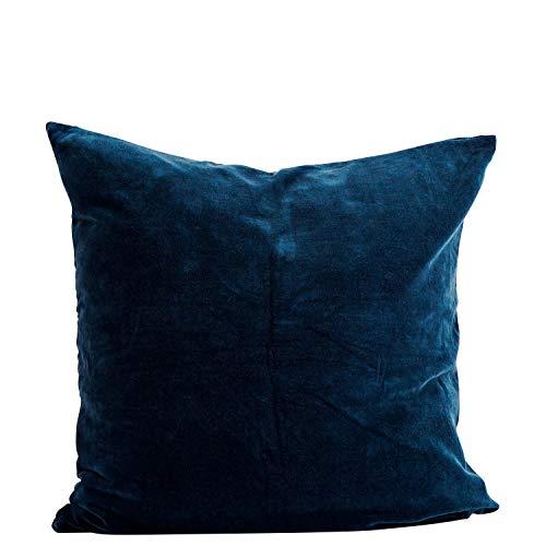 Madam Stoltz Kussensloop Velours in de kleur saffierblauw van puur katoen, afmetingen: 60x60cm