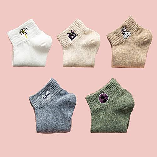 5 Pares de Calcetines de Dibujos Animados de Color sólido Lindos Calcetines de Mujer Kawaii Casuales Calcetines de algodón Bordados para niña Bonita-B