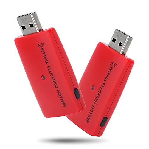 Adaptador de Controlador inalámbrico, Adaptador/Receptor Bluetooth inalámbrico USB portátil, para Nintendo Switch/PS3/PS4/Xbox One S/PC, etc.(Rojo)