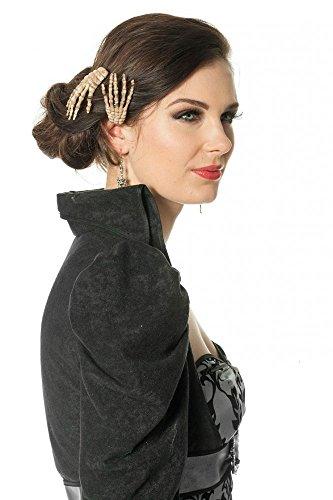 shoperama 2 Halloween Haarclips mit Skelett-Hand Haarschmuck Haarklammer Haar-Spange Kostüm-Zubehör