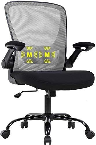 Mesh Office Chair Folding Chair Armrest Ergonomic Massage Chair Computer Chair with Lumbar Support, Movable Chair Swivel Chair Office Mesh Computer Desk Chair Armchair Reclining Adjustable Chair (4)
