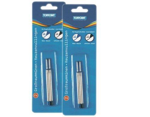Sparpaket: Stylex 2 x 2 Kugelschreiberminen, jeweils 2 x schwarz und blau, TOPPOINT Großraumminen 30500