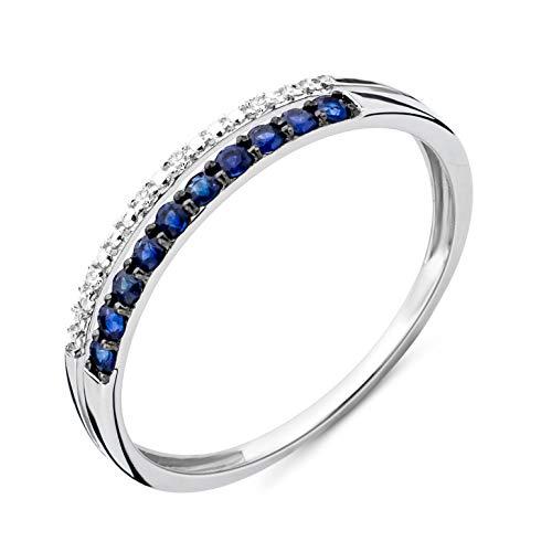 Miore Ring Damen doppelreihiger Diamant Ewigkeitsring Weißgold 9 Karat / 375 Gold mit Edelsteine blauer Saphir 0.19 Ct und Diamanten Brillanten, Schmuck