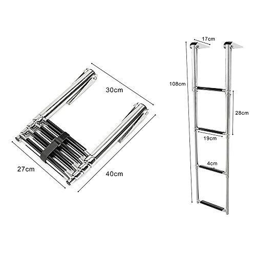 Hoffen Telescopic 4 Step Ladder Stainless Steel Telescoping Extendable Ladder 900 Pound Capacity for Marine Yacht / Swimming Pool
