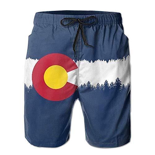 Jiger Colorado State Mile Mens Quick Dry Swim Trunks Athletic Beach Board Shorts PantsM