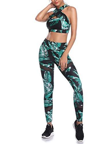 Geagodelia Damen Yoga Trainingsanzug Workout Outfit Bunt Blumen 2 Teilig Yoga Leggings High Waist Ärmellos Crop Top Sport BH Fitness Kleidung Set für Gym Zumba Pilates (Schwarz-561d, M)