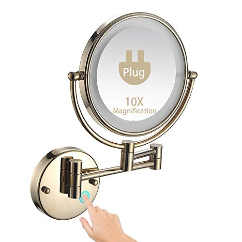 Espejo de tocador de pared con luces, espejo de maquillaje con luces y espejos de afeitado antivaho de 10 aumentos para hombres, espejo de baño giratorio y extensible de 360 ° para spa y hotelPlug-
