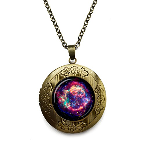 Vintage Bronze Tone Locket Picture Pendant Necklace Nebula Galaxy Space Turquoise White Included Free Brass Chain Gifts Personalized