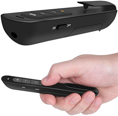 DinoFire Presentation Pointer, Hyperlink Volume Control RF 2.4GHz Wireless PowerPoint Clicker Presentation Presenter Control With Laser Pointer (Black)