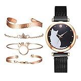 F Fityle 5 Unids/Set de Relojes para Mujer, Conjunto de Pulsera de Oro Rosa, Reloj con Imán Negro con de Gato, Relojes de Pulsera para Mujer, Reloj de - Negro