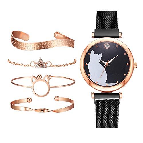 Milageto Elegante Reloj de 34 Mm para Mujer con Brazalete de Cuarzo con Correa de Malla de Acero Inoxidable - Negro