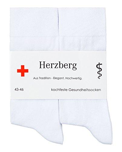 Herzberg weiße hygienische Arztsocken kochfest, 6 Paar, weiß, Größe 35-38