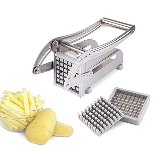 French Fry Cutter, Kinberry Commercial Grade Vegetable and Potato Slicer, No-Slip Suction Base for Easy Slicing, Potato Cutter for Veggies, Onions, Carrots, Cucumbers