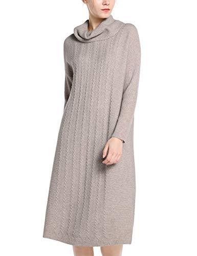 APART stylishes Damen Kleid, Strickkleid, Schlupfkleid, Kaschmir-Anteil, vorn mit Zopfmuster, lockere Bequeme Form, Taupe, L