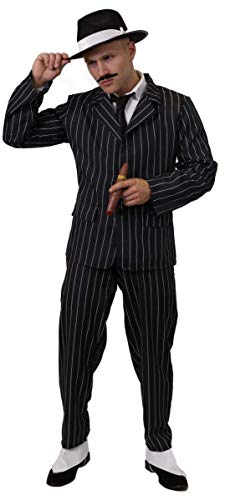 Ilovefancydress volwassen gangster fancy dress kostuum - zwart en wit krijtstreep pak met zwarte trilby hoed met witte satijnen band & spiv snor in kleine - xxl