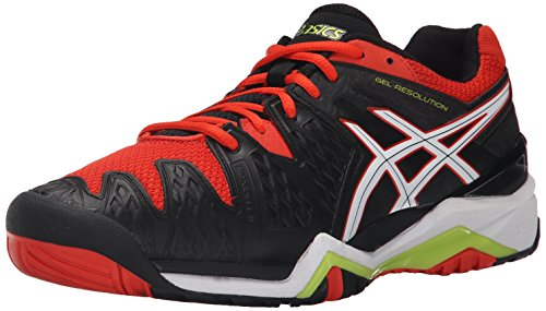 ASICS Men's Gel-Resolution 6 Tennis Shoe, Safety Yellow/White/Poseidon, 12.5 M US