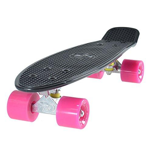 Cruiser Skateboard 22 INCH Black Board PINK Wheels