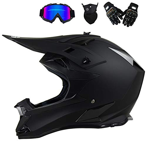 Motocross Helm mit Brille Handschuhe Maske, Motorrad Crosshelm Herren Fullface Helm MTB Pro Cross Helm Motorradhelm Downhill Bike Mountainbike BMX Off Road ATV Cross-Country, Schwarz Matt,XL