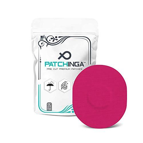 PATCHINGA | 25x Medtronic Guardian Sensor 3 & Enlite/MiaoMiao, CGM Sensor Patch, Fixierung, Tape, selbstklebend, wasserfest, hautfreundlich, haltet bis zu 10 Tage - Erhältlich in 4 Farben (pink)