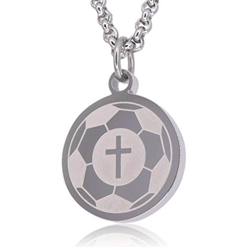 Soccer Prayer Necklace by Pendant Sports. Crafted in Stainless Steel with Luke 1:37 on the back, and Nicely Presented in a Black Velvet Jewelry Box, Best Gifts For Soccer Players
