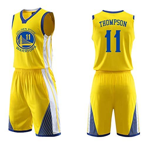 Dybory Chalecos para Hombre Golden State Warriors Thompson # 11 Jersey, Camisetas De Baloncesto + Conjunto De Pantalones Cortos, Camiseta Informal Transpirable,Amarillo,5XL