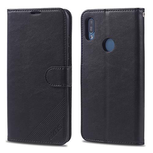 ZAORUN Funda protectora para teléfono móvil compatible con Huawei Y6 (2019) / Enjoy 9E piel de oveja con textura horizontal Flip Case con soporte y ranuras para tarjetas y cartera (color: negro)