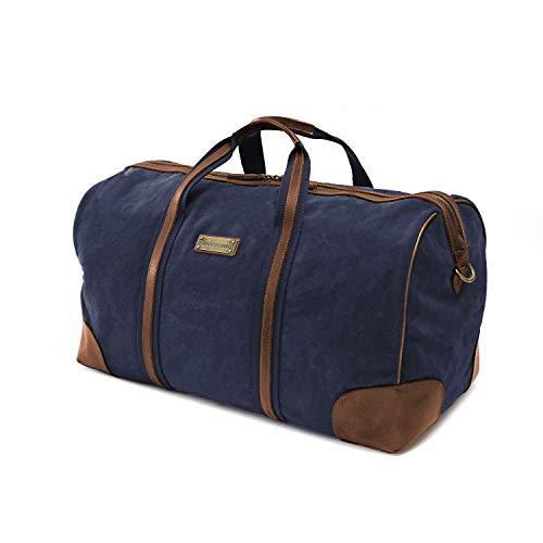 DRAKENSBERG Reisetasche und Weekender, Sport und Gym-Tasche, groß, handgepäck-tauglich, Premium-Qualität, Kimberley-Travel-Bag, 39 L, Canvas und Echt-Büffel-Leder, Marine-blau, braun, DR00145