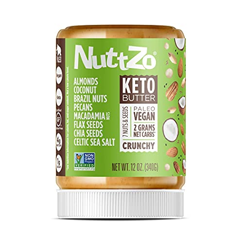 Keto Nut Butter by NuttZo   7 Nuts & Seeds Blend, Keto-Friendly, Gluten-Free, Vegan, Kosher   1g Sugar, 4g Protein, 2g Net Carbs   12oz Jar