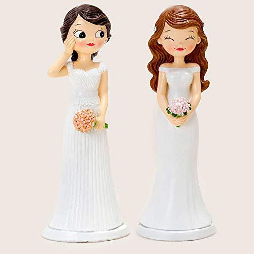 Figuras para Tarta de Boda de Chicas, Novias con Ramos de Flores. Recuerdo para Pastel de Boda.