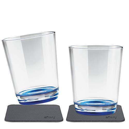 silwy magnetic drinkware – vasos de plástico irrompibles y antideslizantes con imán integrado y posavasos metálicos – camping, barco, niños - Liu Blue