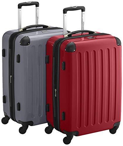 HAUPTSTADTKOFFER - Alex - 2er Koffer-Set Hartschale glänzend, TSA, 65 cm, 74 Liter, Rot-Silber