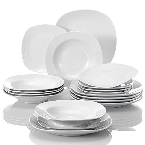 MALACASA, Serie Elisa, 18 piezas juegos de platos vajilla de porcelana blanca con 6 platos de postre, 6 platos de sopa y 6 platos plano para 6persona